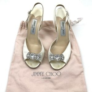 Jimmy Choo Wedding Shoes Ivory Sling Back Sz 37.5